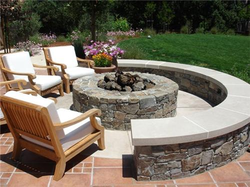 Firepit with sitting wall