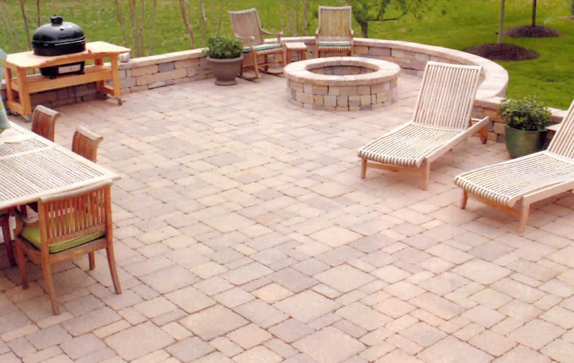 Patio, sitting wall, and firepit