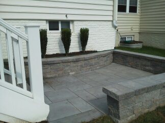 Landscaped sitting wall